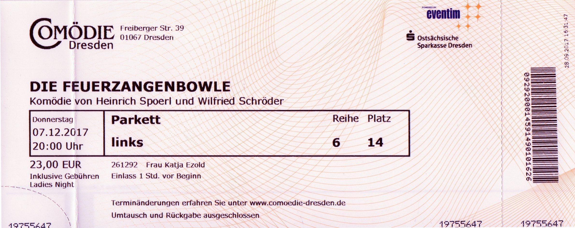 Comödie Dresden: Die Feuerzangenbowle | Katja´s Bücher und